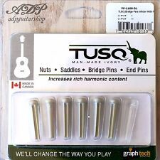 6 CHEVILLES TUSQ PP-1100-01 BLANC GRAPH TECH ACOUSTIC GUITAR BRIDGE PINS White