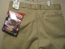 DICKIES Plain Front Twill Pants Work Pants,38 x 34,Khaki,Shop,Stain Release,NEW