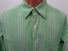 Barneys NY Mens L Green & White Striped Long-Sleeve Cotton Shirt Made in Italy