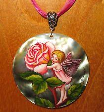 véritable russe peint à la main pendentif coquillage rose Fée Fleur Magnifique