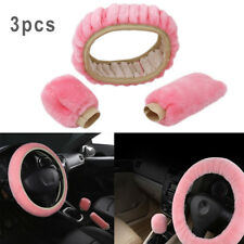 3Pcs Steering Wheel Cover For Women Sets Wool Plush Hand Brake+Stop Lever Pink