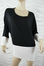 CALVIN KLEIN black white trim dolman long sleeve top size XL BNWT