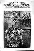 Original Old Antique Print 1880 Colliery Disaster Seaham Mining Rescue 19th