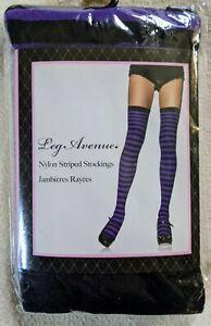 Leg Avenue Black / Purple Striped Nylon Thigh High Stockings OS NIP