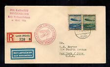 1936 Lorch Germany Hindenburg Zeppelin LZ 129 FFC  cover to New York USA