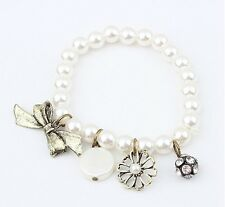 American retro ethnic style pearl rhinestone flowers bow bracelets for women