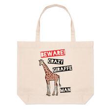 Méfiez-vous fou girafe homme Grand Plage SAC FOURRE-TOUT - Drôle courses épaule