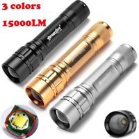 Tactical 15000LM 3Mode LED T6 LED Flashlight 18650 Zoomable Torch Lamp Light