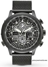 Citizen Men's Navihawk A-T Black Ion Plated Perpetual Calendar Watch JY8037-50E