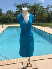 ISSA LONDON TEAL BLUE STRETCH GATHER DETAIL CAP SLEEVE DRESS Sz 6