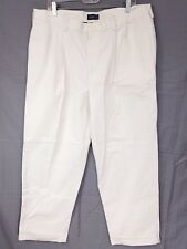 Mens IZOD American Chino Pants Cuffed Size 38 Double Pleated Beige W36 L30