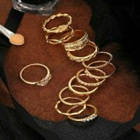 Midi Finger Ring 12pcs Girls Gold Knuckle Set Tone Women Rings Retro Bohemian