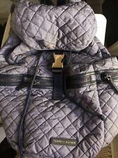Tommy Hilfiger Quilted Nylon Gold Detail Blue Backpack, Crossbody, & Wallet Set