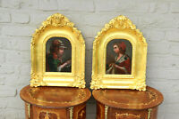 Gorgeous PAIR antique French Portrait oil panel painting putti angel frame rare