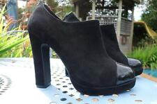 FLORSHEIM SHOES,BLACK SUEDE LEATHER & PATENT PLATFORM ANKLE BOOTS,37,6.5 $200+