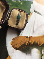 Antique C 1930s Art Deco Silver small Green Turquoise? Cabochon Ring Sz L