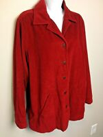 Vintage Bill Blass Women's Size L Barn Jacket  Red Wide Wale Cotton Corduroy EUC