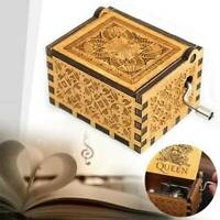Classical Hand Crank Engraved Wooden Music Box Queen Kids Xmas Gift 64x52mm