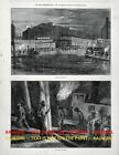 Illinois Cairo Unloading Coal on Mississippi River at Night, 1870s Antique Print