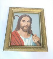 Vintage 1960's Paint By Number Jesus & Staff  Wood Frame 12 x 10