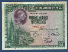 500 PESETAS 1928 C.CISNEROS NÚMERO BAJO: 0,002,233