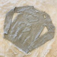 NWT Women's LC LAUREN CONRAD Heart Flecked Novelty Steel 3D Motif Sweater - XS
