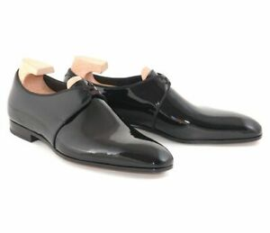 New Men's Handmade Black Patent Leather Tuxedo Shoes Formal Wedding Shoes