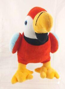 "Red/Yellow/Blue Parrot  Plush Stuffed Animal 11"" High"