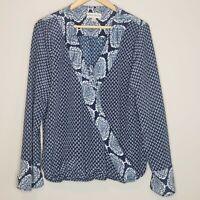 Knox Rose Surplice Neck Blouse Sz XL Women's Floral Long Sleeve Boho Top Blue