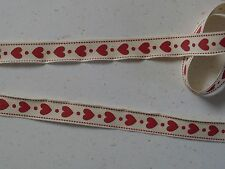 Haberdashery Supplies ~  RED HEARTS ~ Grosgrain Ribbon 15mm x 1 Metre