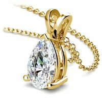 Pear Cut GIA Diamond Pendant 3.00 Carat I/SI1 Solitaire 14K Yellow Gold Necklace