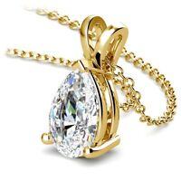 Pear Cut Diamond Teardrop Pendant 0.90 Carat I/VS2 Solitaire 14K Yellow Gold