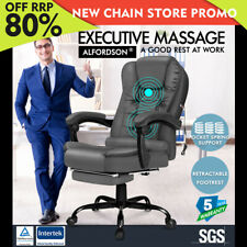 Alfordson Massage Office Chair Footrest Executive Gaming Racing Seat Grey PU