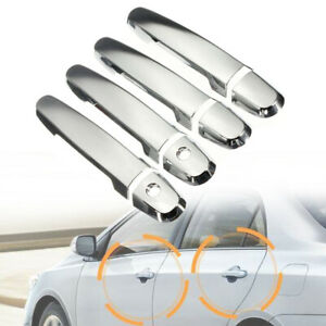Chrome Silver Exterior Door Handle Plastic Covers 2 Keyhole For 03-13 Corolla