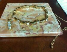 Gorgeous Gold Plated Tennis Bracelet And Pendant Necklace Set With Clear Stones
