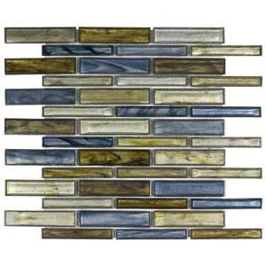 Modern Linear Blue Green Grey Glass Mosaic Tile Backsplash Kitchen Wall MTO0232