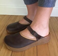 Tatami Birkenstock Brown Leather Slides Mules Clogs Sandals Sz 6/37