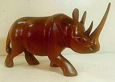 "Hand Carved Wood Rhinoceros Figurine 10"" Long From Kenya"