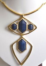 Alexis Bittar geometric Lapis Lazuli Faceted Gold Plated 14K Pave Long Necklace