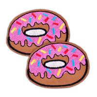 2x Donut Stickerei Aufnäher Aufbügler Bügelbild Patch Flicken Abzeichen Iron