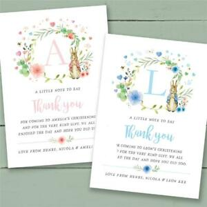 25 Peter Rabbit personalised christening baptism naming day thank you cards