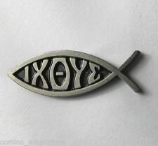 IXOYE IS GREEK FOR JESUS FISH II RELIGIOUS NOVELTY LAPEL PIN BADGE 3/4 INCH