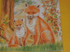10 Servietten Fuchs Füchse Familie Wald 1/4 Serviettentechnik Family Fox ANGEBOT