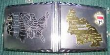 Rare Vintage 1940s Cigarette Case - US Zone Germany Raised Map and USA Map