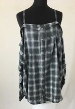 Yours Clothing Limited Collection Off Shoulder Checkered Top Grey/white Uk 24