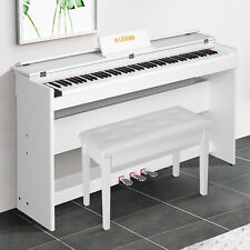 White Electric Piano Keyboard 88 Key + Bench w/Board Cover+Stand+Adapter+3 Pedal