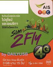 AIS 15 DAYS 3GB 4G 3G PAYG UNLIMITED DATA PREPAID SIM USA CANADA UK QATAR UAE