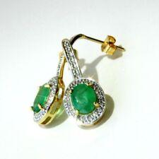 NEU Smaragd Diamant Ohrringe 2,86 ct 585er Gelbgold 14K natürlicher Edelstein