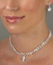 Clear Crystal Rhinestone Round & Tear Drop Bridal Evening Necklace & Earring Set