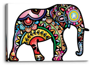 Colouful Elephant Drawing Mandala Style Canvas Wall Art Picture Home Decor